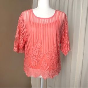 lace sheer top coral peach